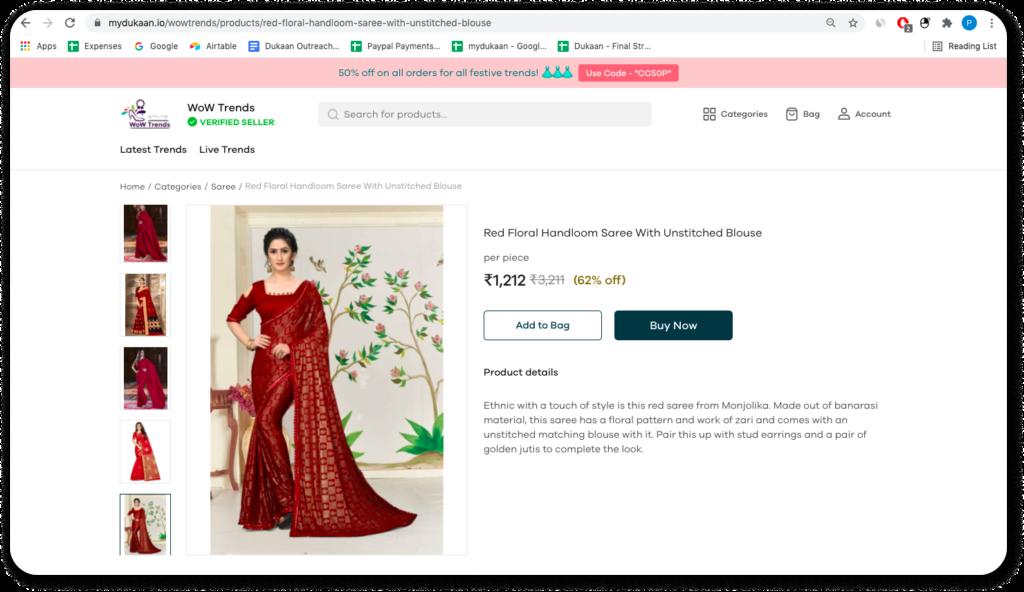online saree business on Dukaan
