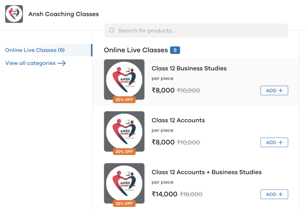 tuition business on Dukaan