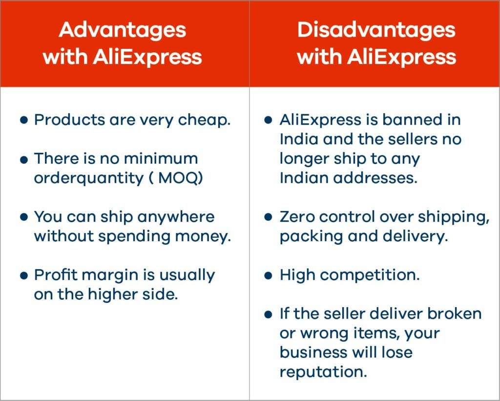 advantages and disadvantages with AliExpress