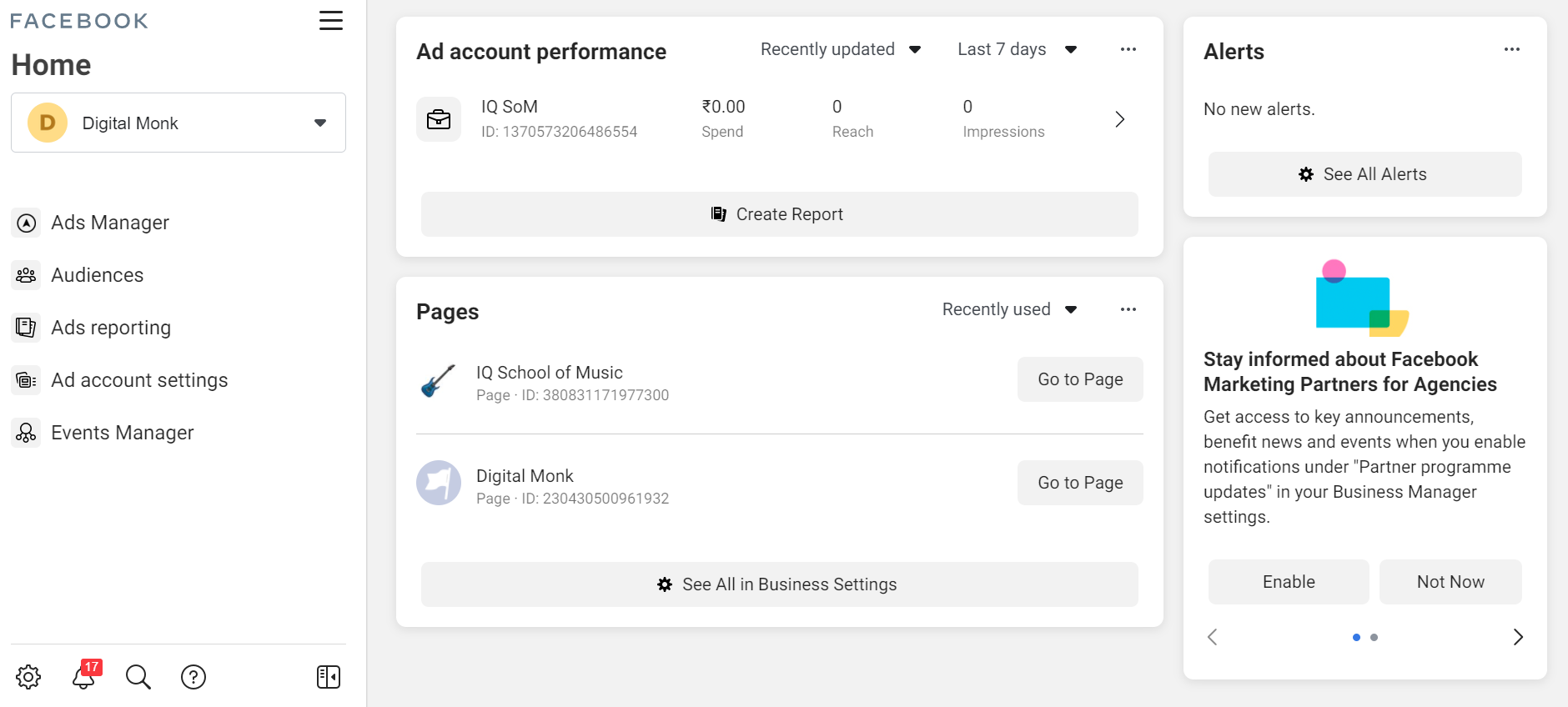 Facebook business page and ad account