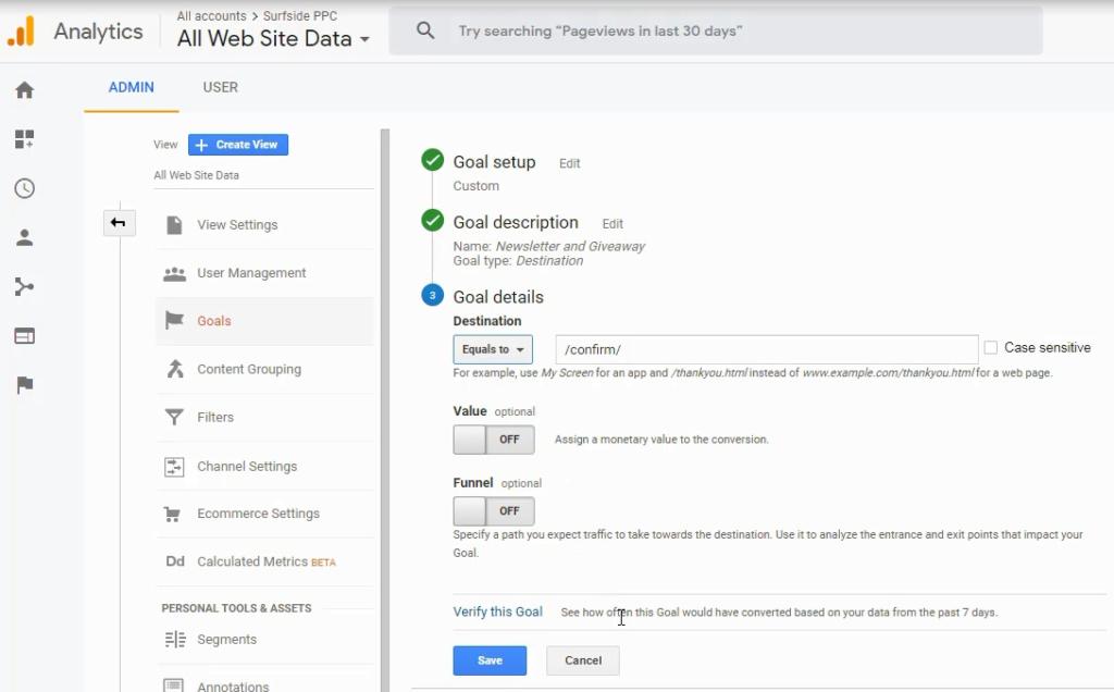 create a new Goal in Google Analytics