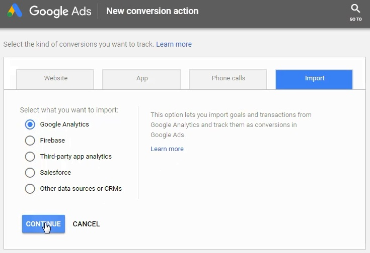 how to Import conversions from Google Analytics