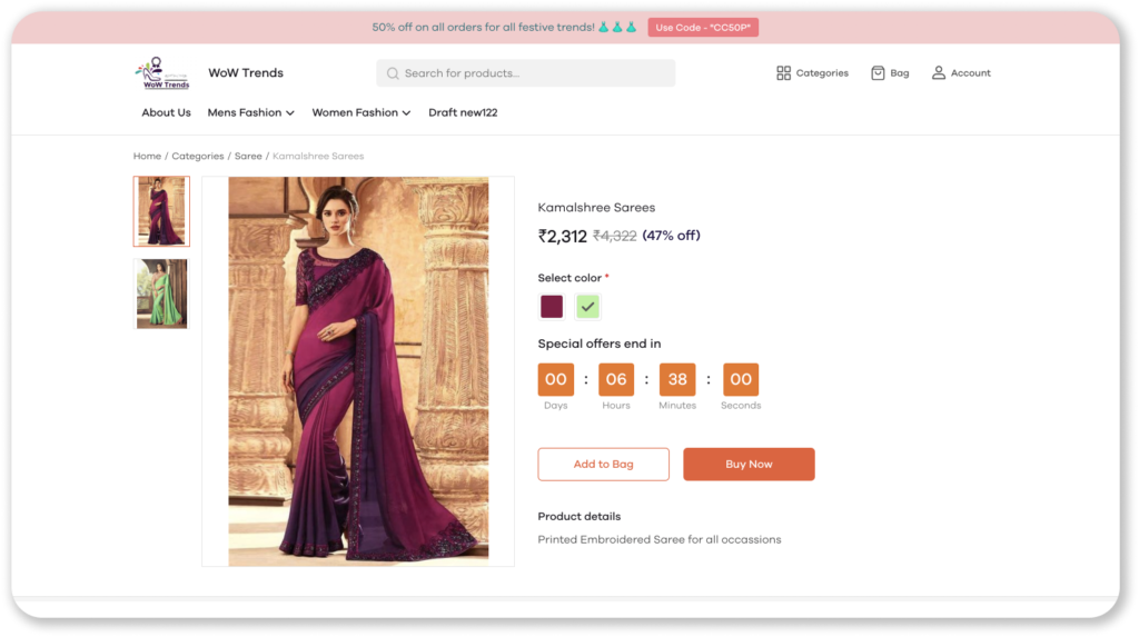 sell sarees online
