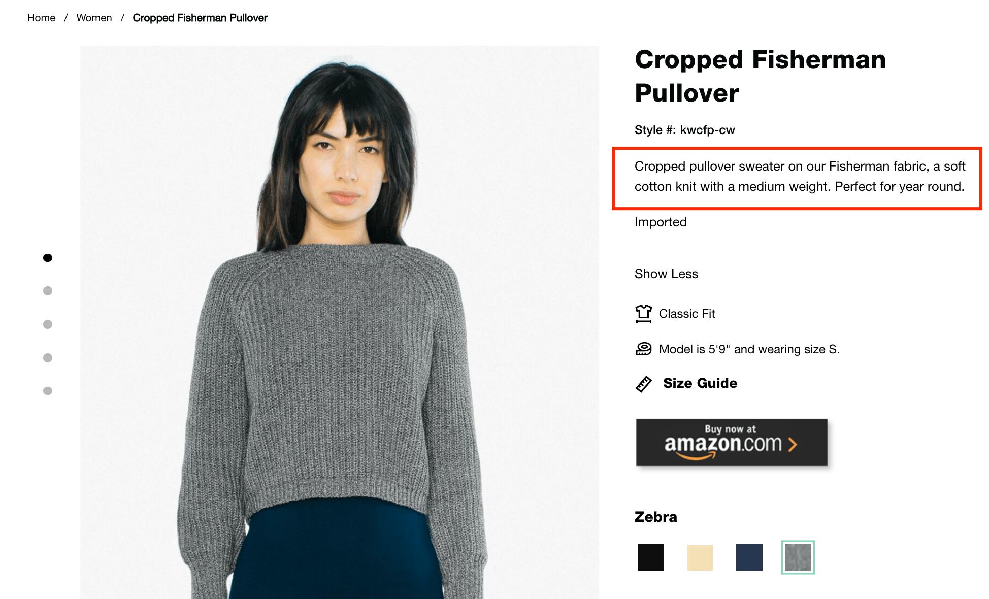 short product descriptions example