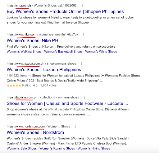 women's shoes Google search results